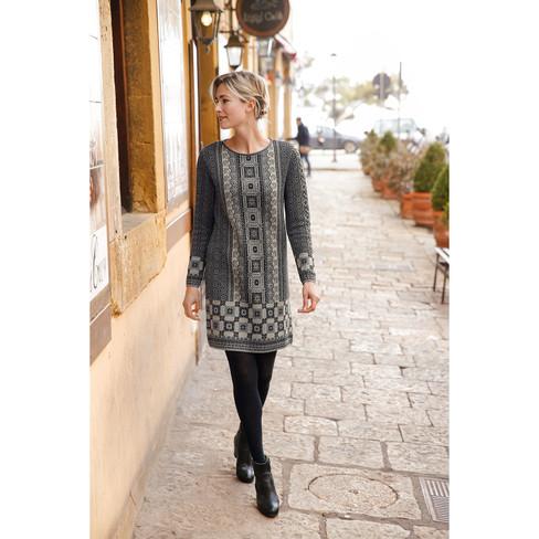 a335af478448 Dunque Schweikardt Gerades Jacquard-Kleid mit Bio Merinowolle,  schwarz-gemustert