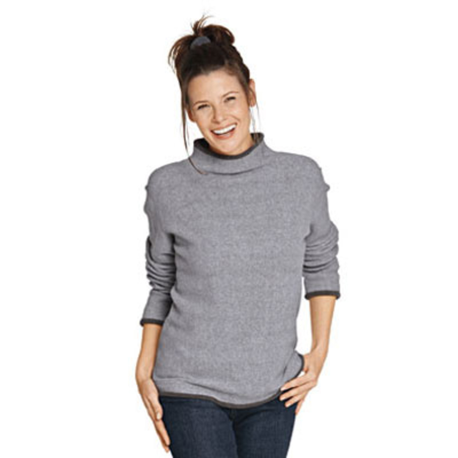 Fleece-Pullover, rostorange/anthrazit