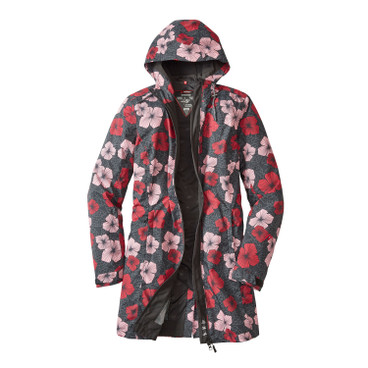 Damen Funktionsmantel BLOOMY COAT, anthrazit-bunt
