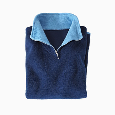Fleece-Troyer, nachtblau/jeans