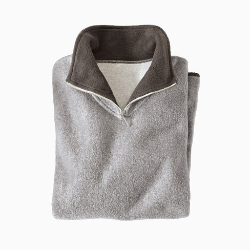 Fleece-Troyer aus reiner Bio Baumwolle, grau/anthrazit