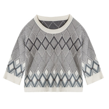 Jacquard-Pullover, offwhite