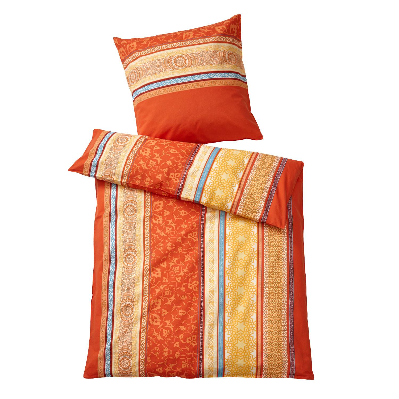 bio feinbiber bettw sche garnitur 2 tlg mandarine bunt. Black Bedroom Furniture Sets. Home Design Ideas