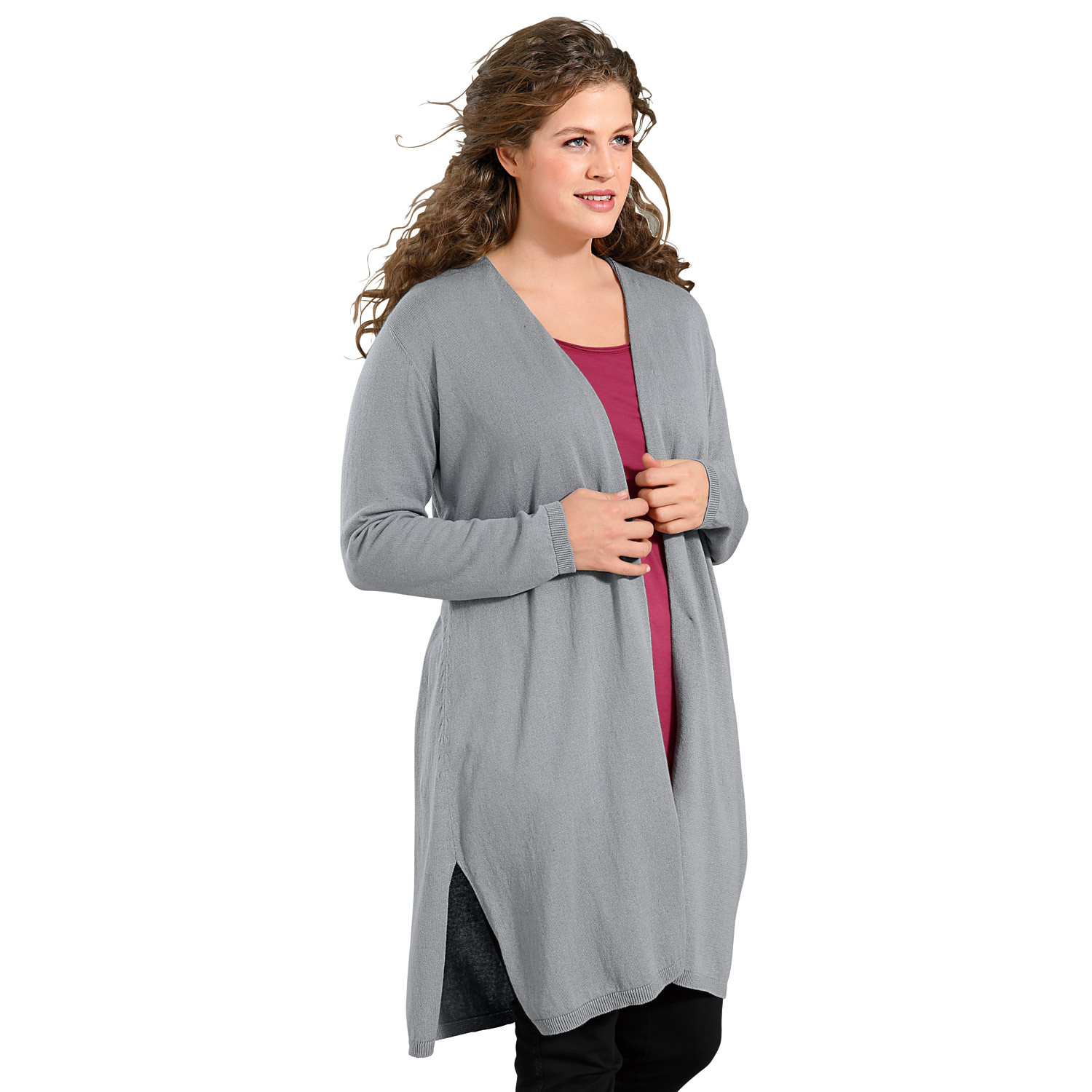 Long-Strickjacke, taupe