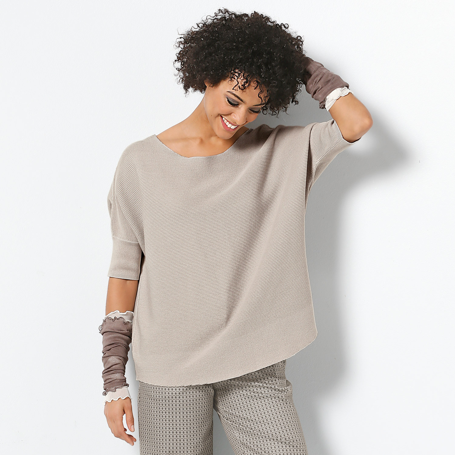 Poncho-Pullover, stein