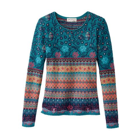 566b90bcc064 Dunque Schweikardt Jacquard-Pullover aus Bio Baumwolle, blau-gemustert