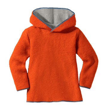 Kapuzenpullover aus Wollwalk, orange