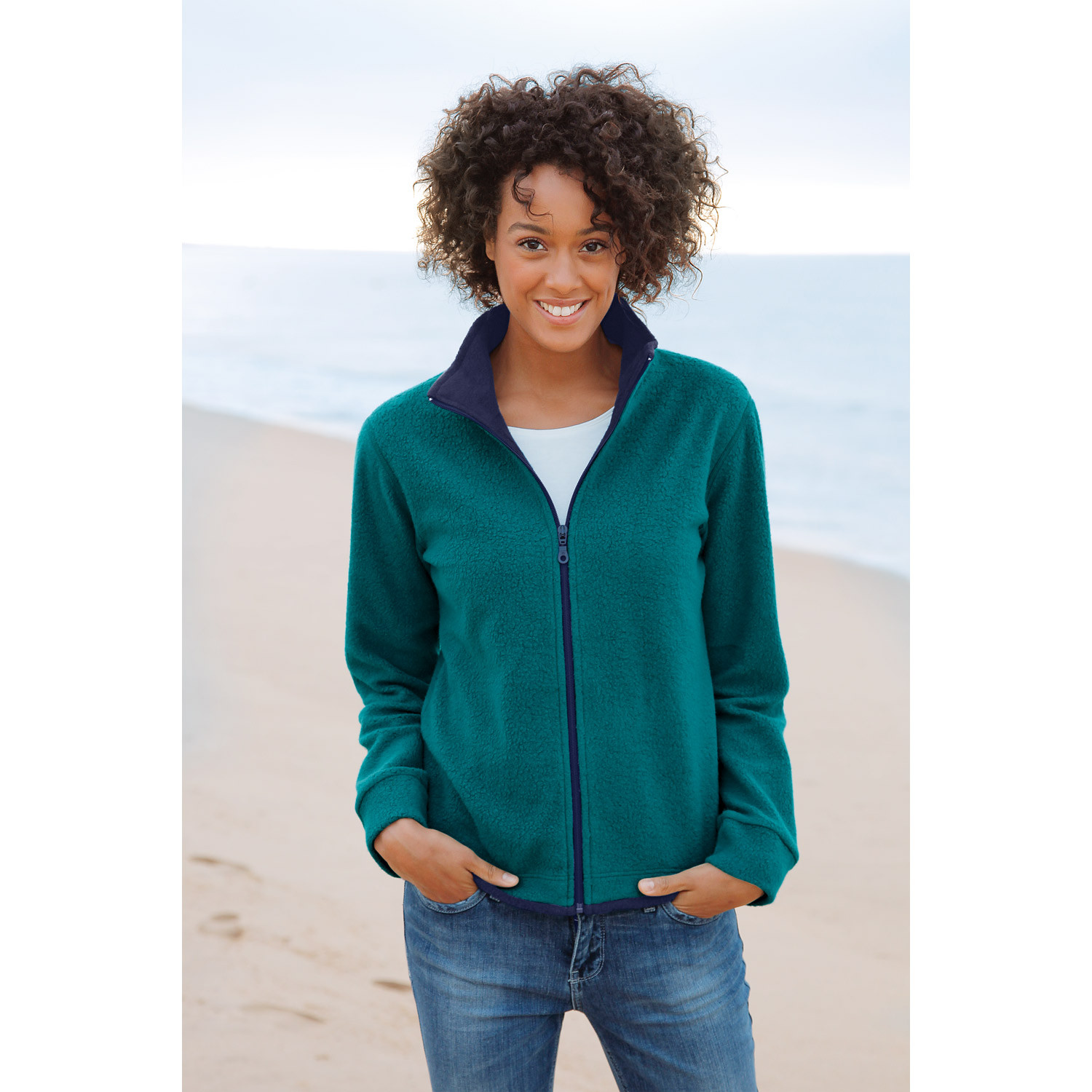 Fleece-Jacke, rostorange/anthrazit