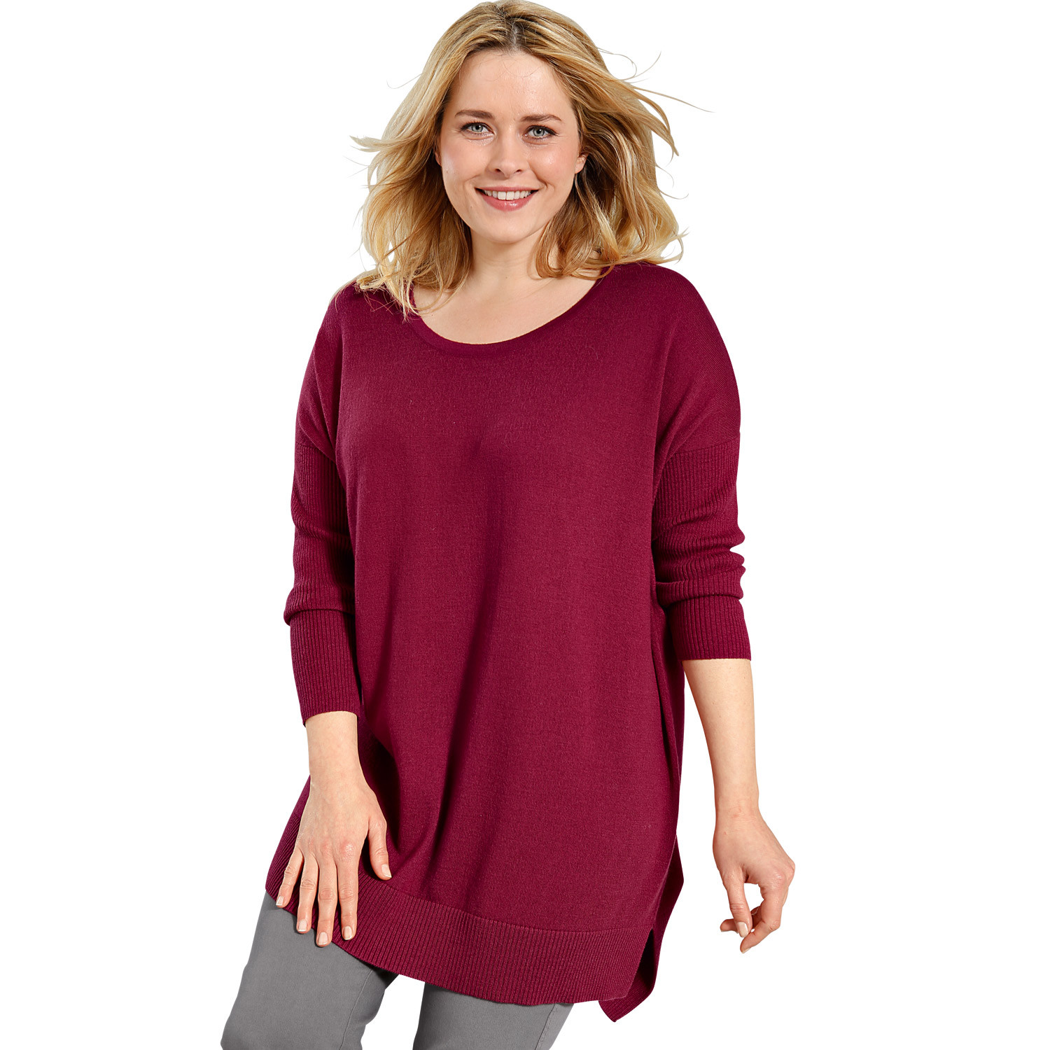 Oversized-Pullover, himbeere